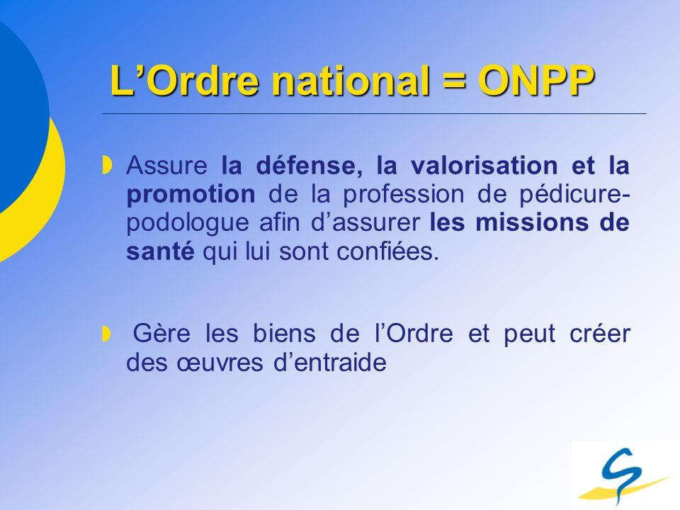 LOrdre national = ONPP Assure la défense, la valorisation et la promotion de la profession de pédicure- podologue afin dassurer les missions de santé