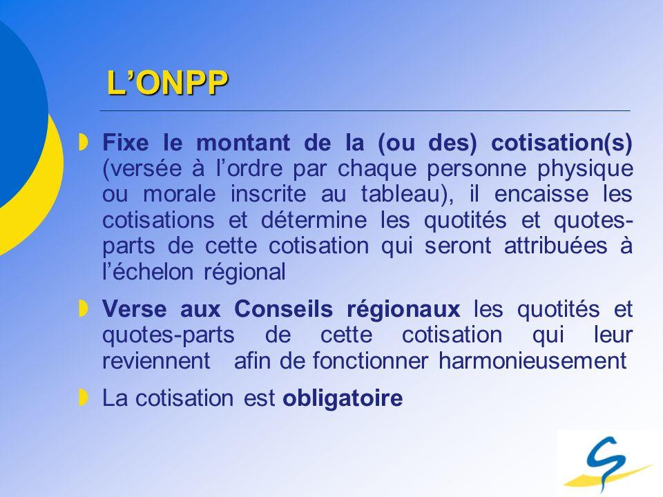 LONPP Fixe le montant de la (ou des) cotisation(s) (versée à lordre par chaque personne physique ou morale inscrite au tableau), il encaisse les cotis