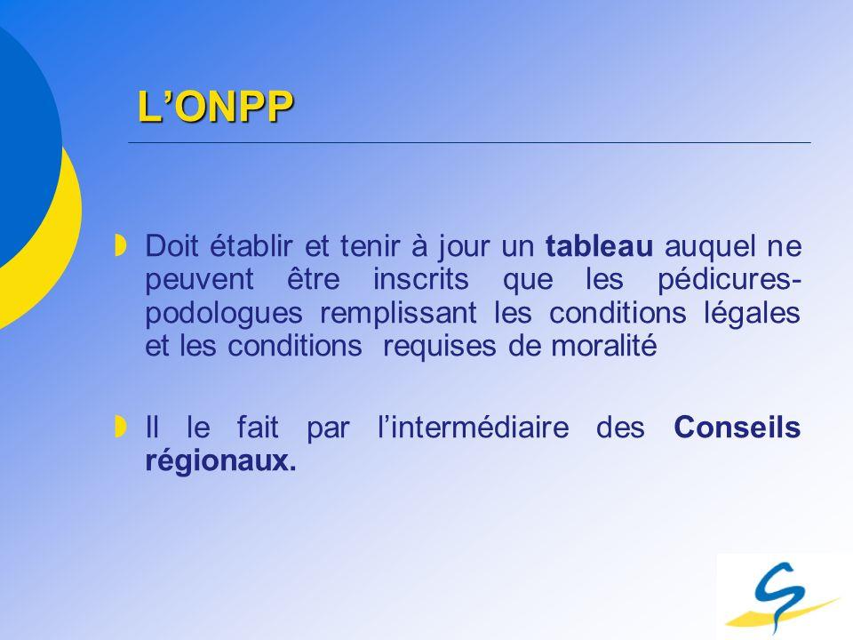 LONPP Doit établir et tenir à jour un tableau auquel ne peuvent être inscrits que les pédicures- podologues remplissant les conditions légales et les