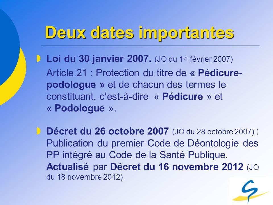 Deux dates importantes Loi du 30 janvier 2007. (JO du 1 er février 2007) Article 21 : Protection du titre de « Pédicure- podologue » et de chacun des