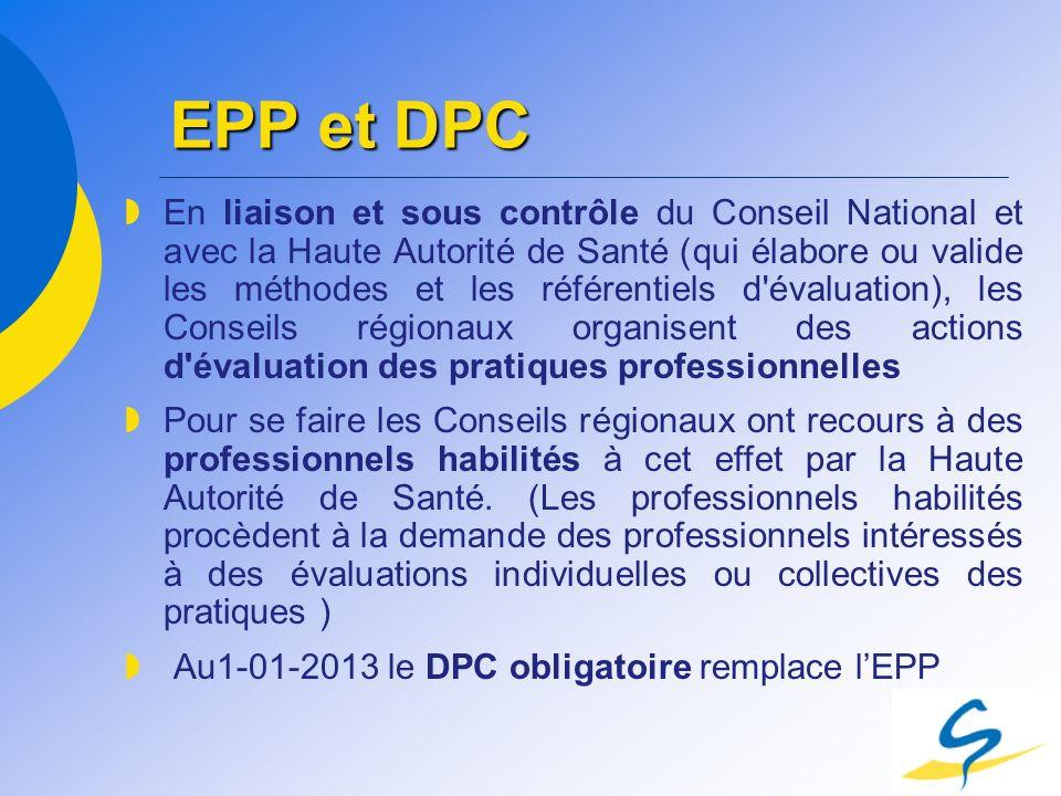 EPP et DPC En liaison et sous contrôle du Conseil National et avec la Haute Autorité de Santé (qui élabore ou valide les méthodes et les référentiels