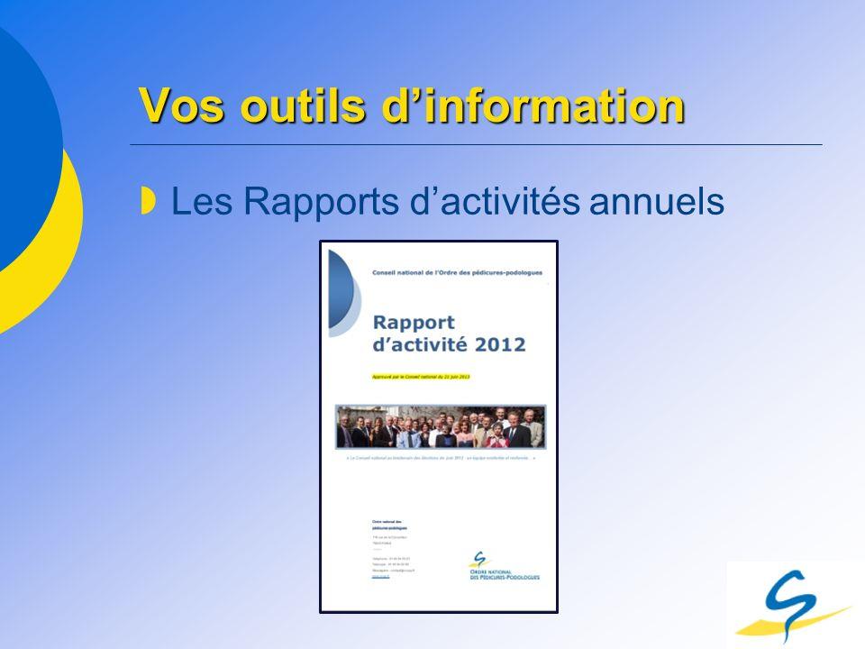 Vos outils dinformation Les Rapports dactivités annuels