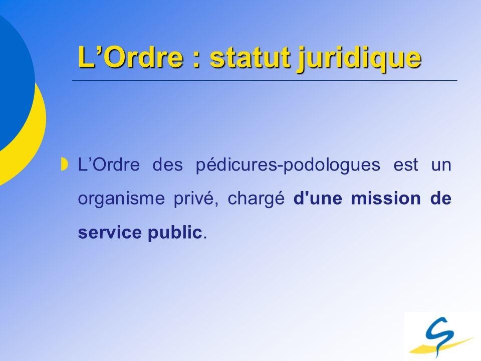LOrdre : statut juridique LOrdre des pédicures-podologues est un organisme privé, chargé d'une mission de service public.