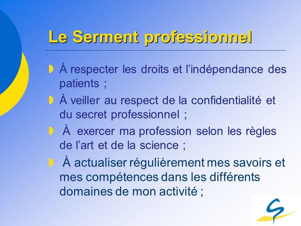 Le Serment professionnel À respecter les droits et lindépendance des patients ; À veiller au respect de la confidentialité et du secret professionnel