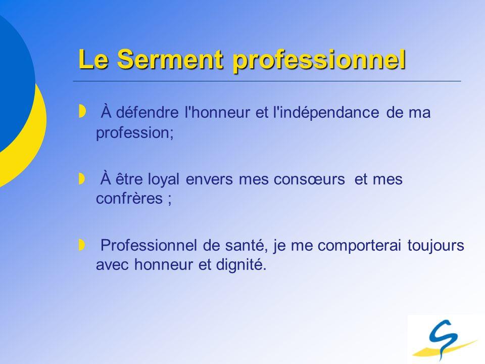 Le Serment professionnel À défendre l'honneur et l'indépendance de ma profession; À être loyal envers mes consœurs et mes confrères ; Professionnel de