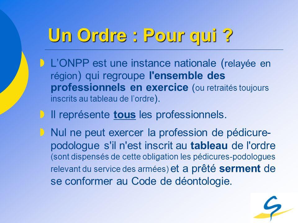 Un Ordre : Pour qui ? LONPP est une instance nationale ( relayée en région ) qui regroupe l'ensemble des professionnels en exercice ( ou retraités tou