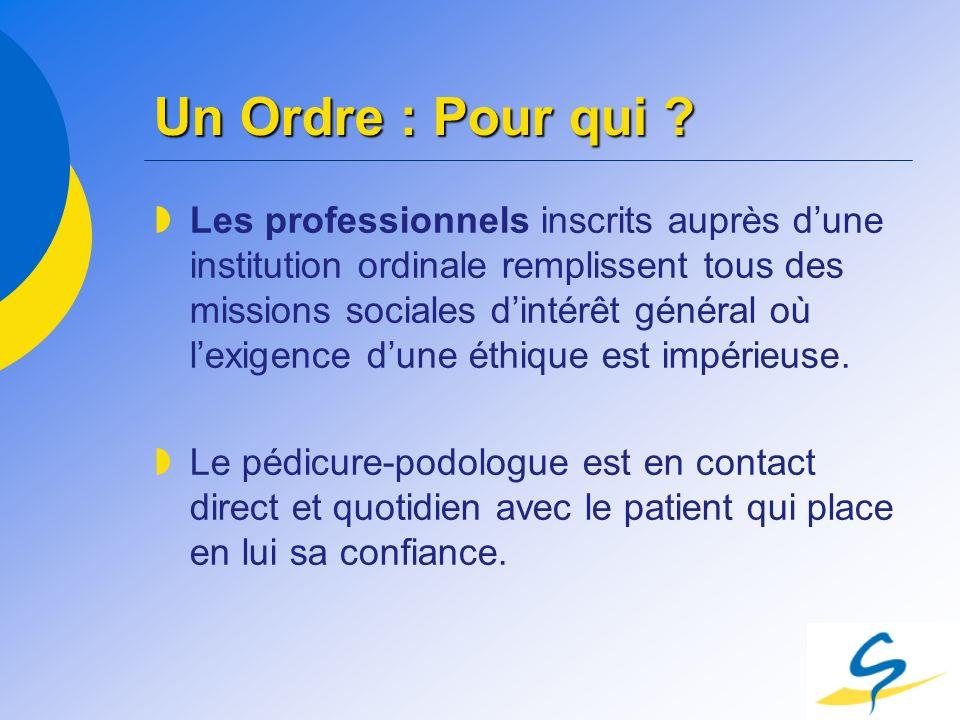 Un Ordre : Pour qui ? Les professionnels inscrits auprès dune institution ordinale remplissent tous des missions sociales dintérêt général où lexigenc