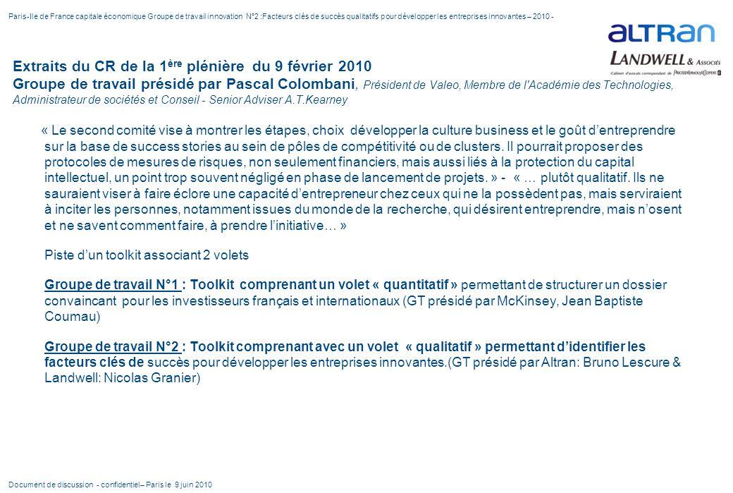 Extraits du CR de la 1 ère plénière du 9 février 2010 Groupe de travail présidé par Pascal Colombani, Président de Valeo, Membre de l'Académie des Tec