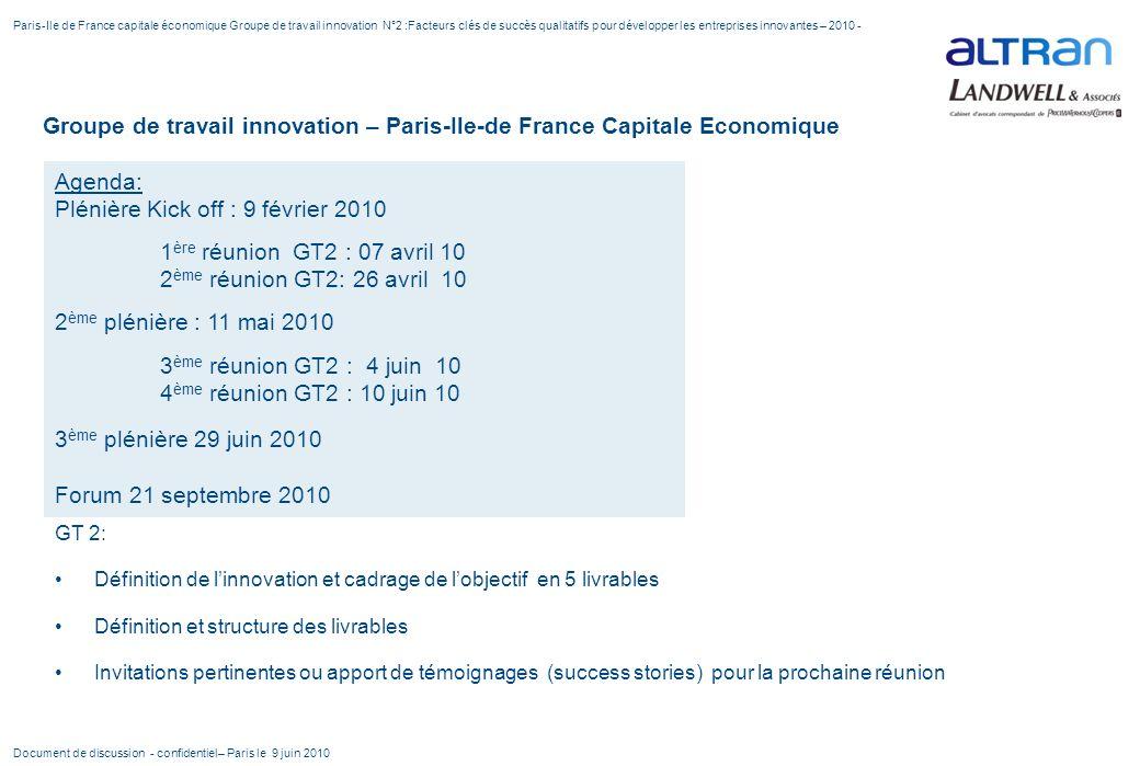 Groupe de travail innovation – Paris-Ile-de France Capitale Economique GT 2: Définition de linnovation et cadrage de lobjectif en 5 livrables Définiti