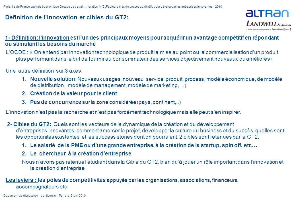 Définition de linnovation et cibles du GT2: 1- Définition: linnovation est l'un des principaux moyens pour acquérir un avantage compétitif en répondan