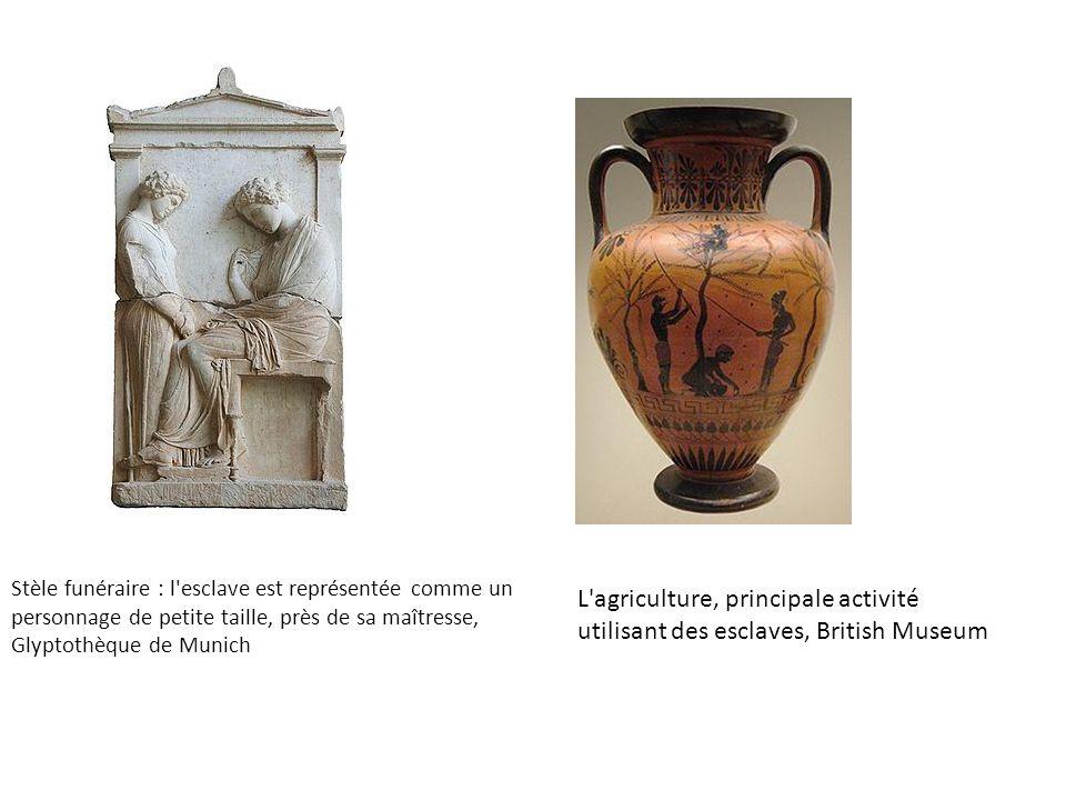 Stèle funéraire : l'esclave est représentée comme un personnage de petite taille, près de sa maîtresse, Glyptothèque de Munich L'agriculture, principa