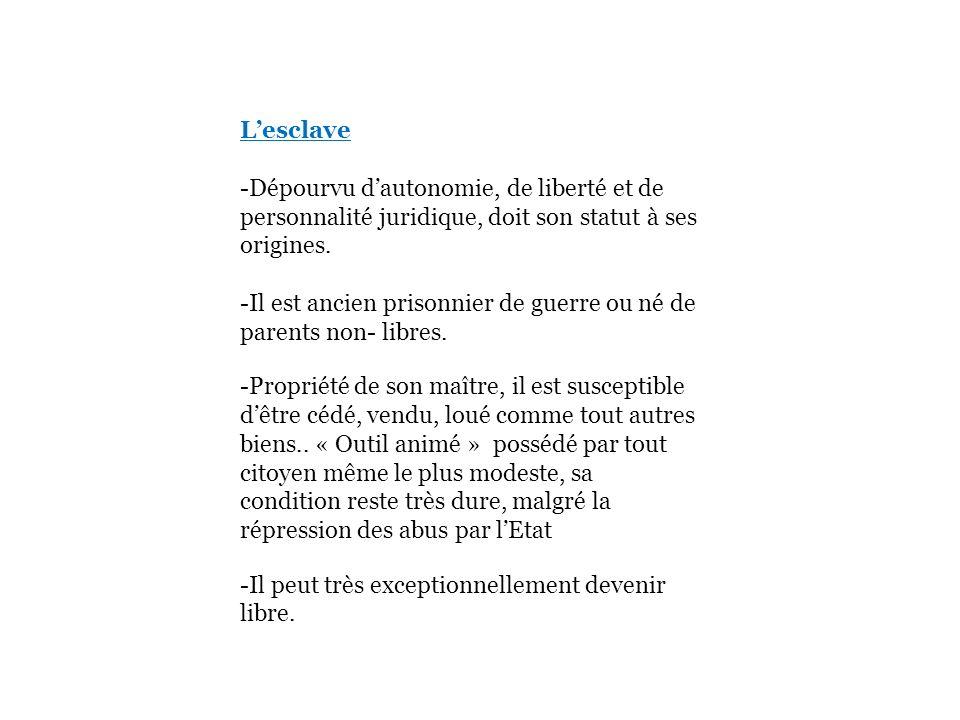 Lesclave -Dépourvu dautonomie, de liberté et de personnalité juridique, doit son statut à ses origines. -Il est ancien prisonnier de guerre ou né de p