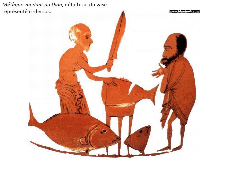 Métèque vendant du thon, détail issu du vase représenté ci-dessus.