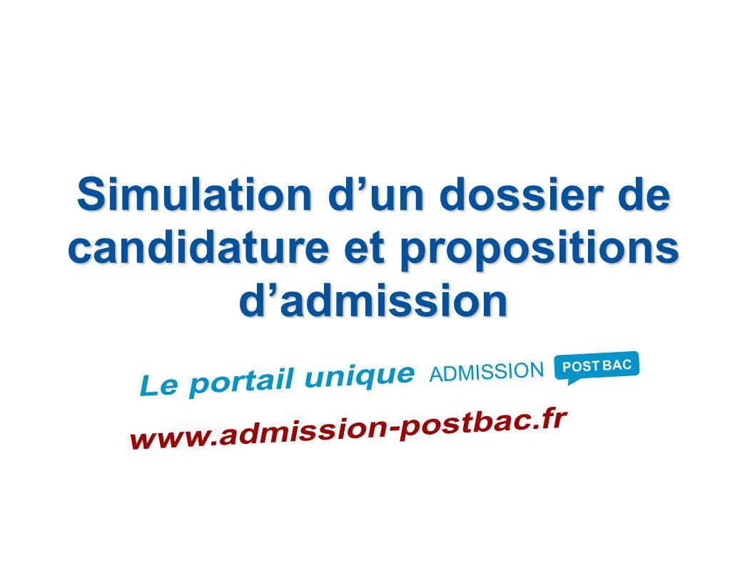 Simulation dun dossier de candidature et propositions dadmission ADMISSION POST BAC