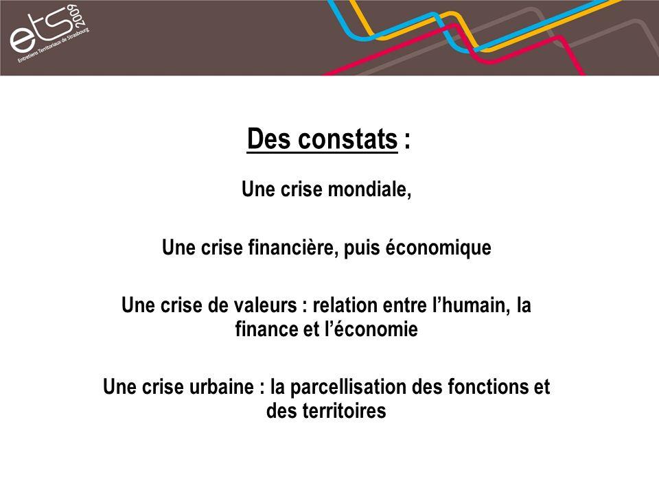 Des constats : Une crise mondiale, Une crise financière, puis économique Une crise de valeurs : relation entre lhumain, la finance et léconomie Une crise urbaine : la parcellisation des fonctions et des territoires