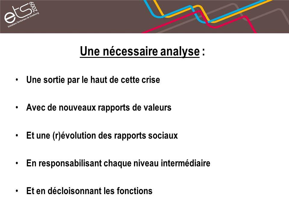 Une nécessaire analyse : Une sortie par le haut de cette crise Avec de nouveaux rapports de valeurs Et une (r)évolution des rapports sociaux En respon