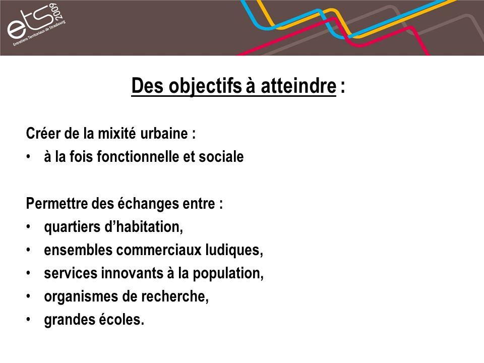 Des objectifs à atteindre : Créer de la mixité urbaine : à la fois fonctionnelle et sociale Permettre des échanges entre : quartiers dhabitation, ensembles commerciaux ludiques, services innovants à la population, organismes de recherche, grandes écoles.