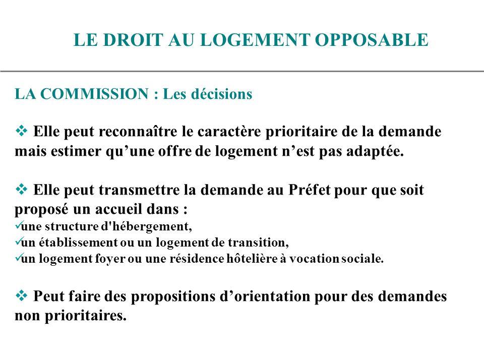 LA COMMISSION : Les décisions Elle peut reconnaître le caractère prioritaire de la demande mais estimer quune offre de logement nest pas adaptée.
