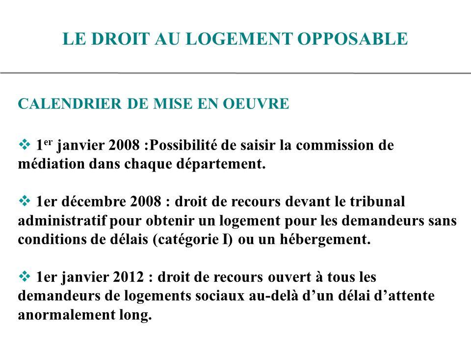 CALENDRIER DE MISE EN OEUVRE 1 er janvier 2008 :Possibilité de saisir la commission de médiation dans chaque département.