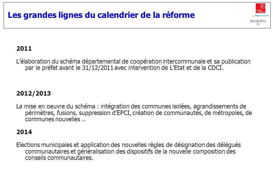 Janvier 2011 10 Les grandes lignes du calendrier de la réforme 2011 Lélaboration du schéma départemental de coopération intercommunale et sa publicati