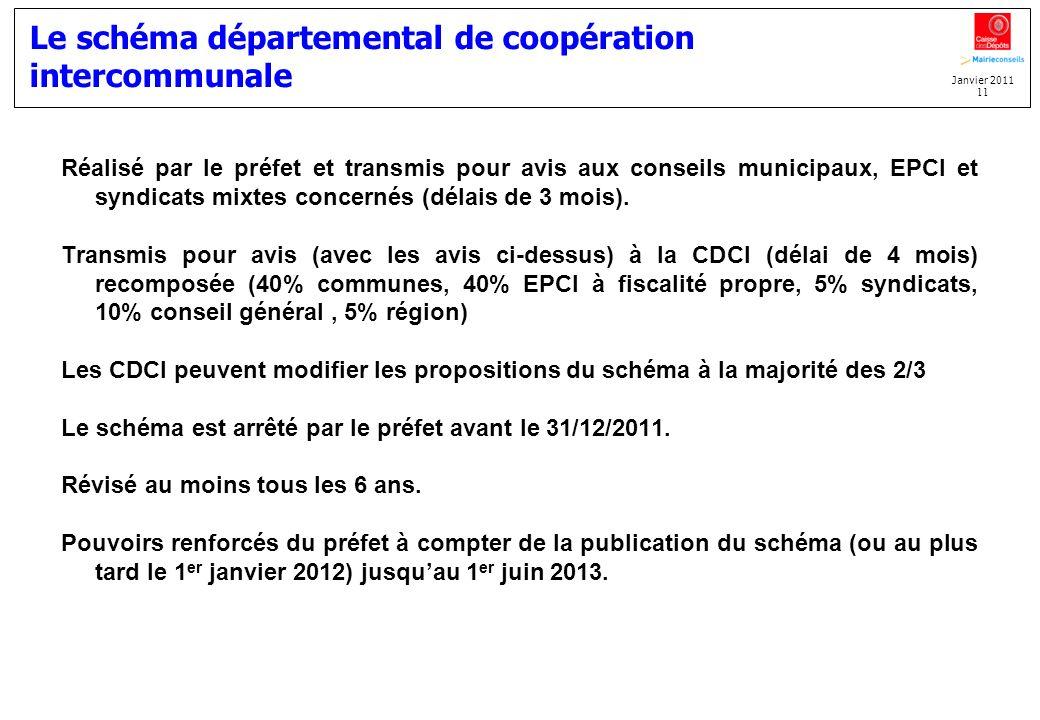 Janvier 2011 11 Le schéma départemental de coopération intercommunale Réalisé par le préfet et transmis pour avis aux conseils municipaux, EPCI et syn