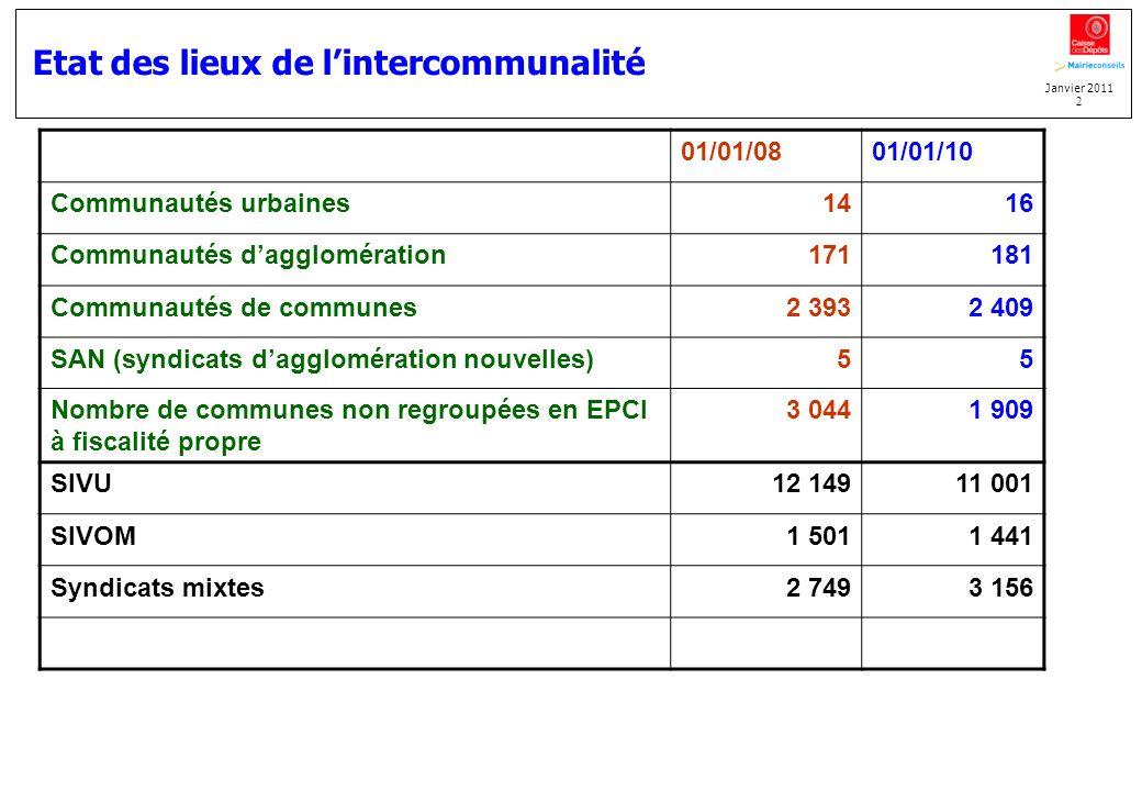 Janvier 2011 2 Etat des lieux de lintercommunalité 01/01/0801/01/10 Communautés urbaines1416 Communautés dagglomération171181 Communautés de communes2