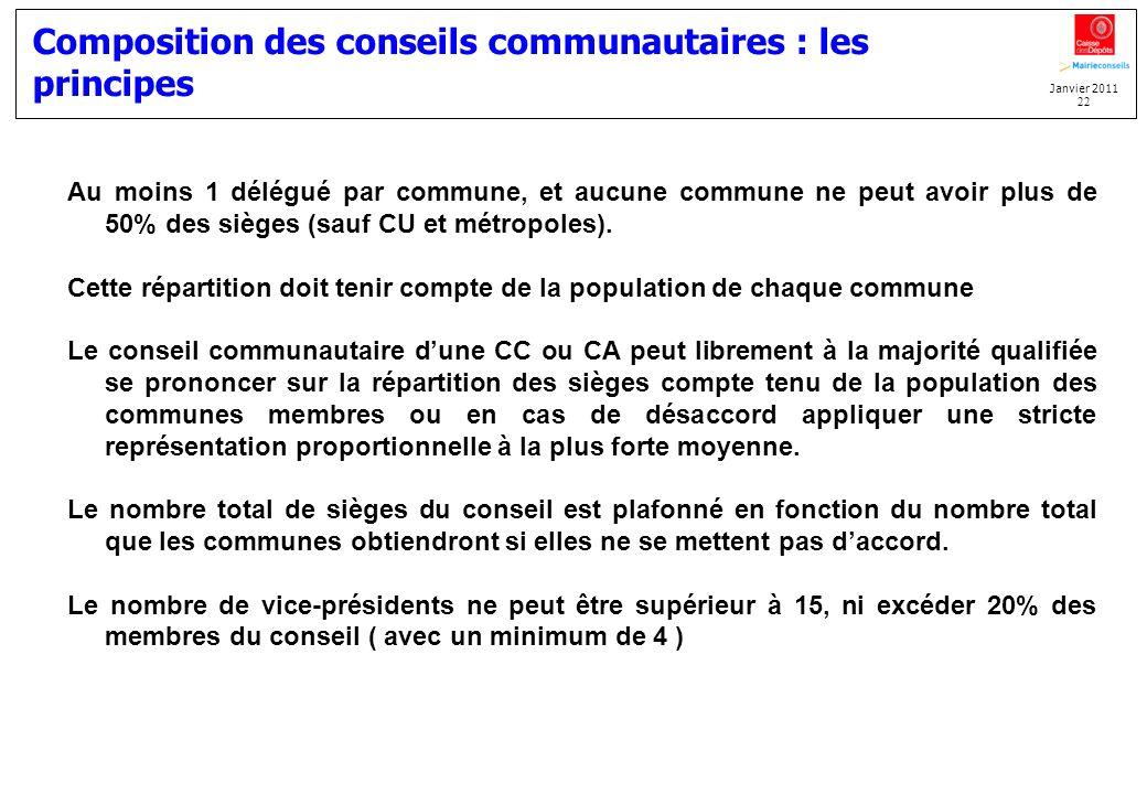 Janvier 2011 22 Composition des conseils communautaires : les principes Au moins 1 délégué par commune, et aucune commune ne peut avoir plus de 50% de