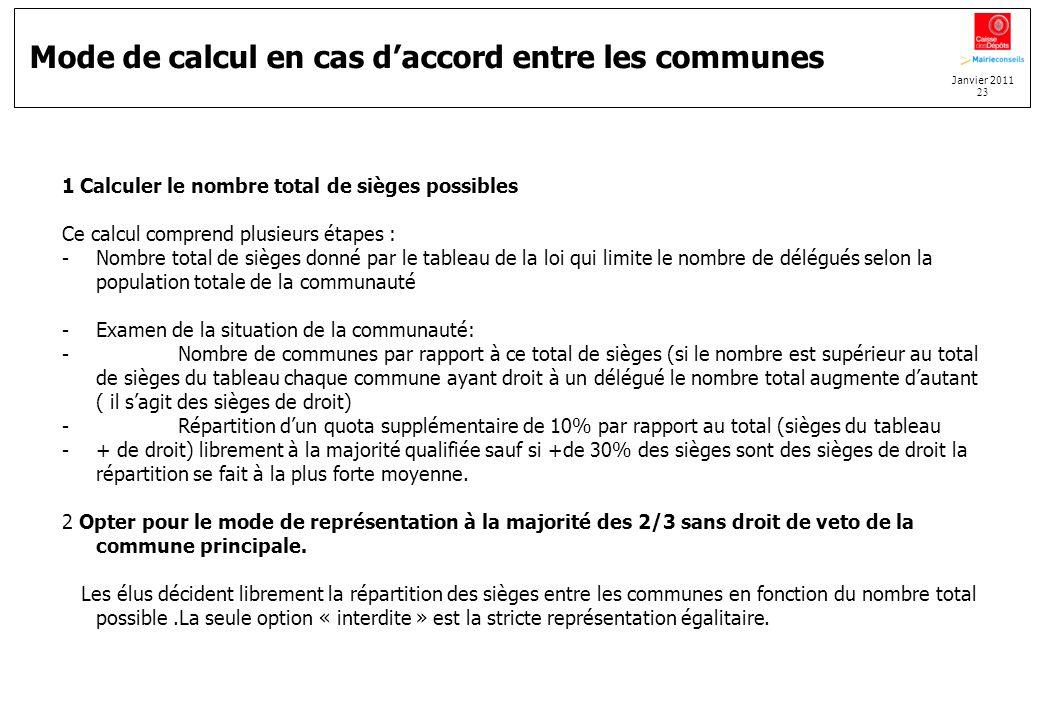 Janvier 2011 23 Mode de calcul en cas daccord entre les communes 1 Calculer le nombre total de sièges possibles Ce calcul comprend plusieurs étapes :