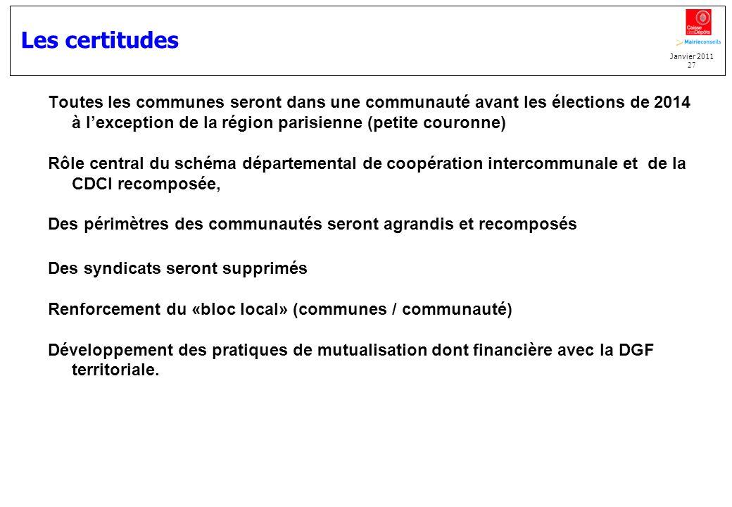 Janvier 2011 27 Les certitudes Toutes les communes seront dans une communauté avant les élections de 2014 à lexception de la région parisienne (petite