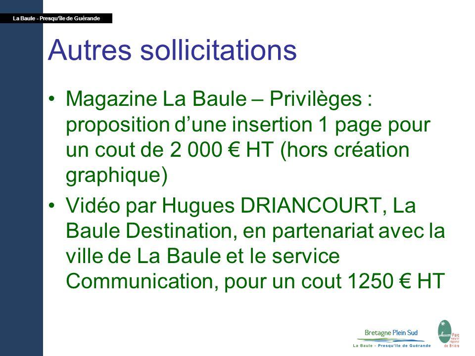La Baule - Presquîle de Guérande Autres sollicitations Magazine La Baule – Privilèges : proposition dune insertion 1 page pour un cout de 2 000 HT (ho