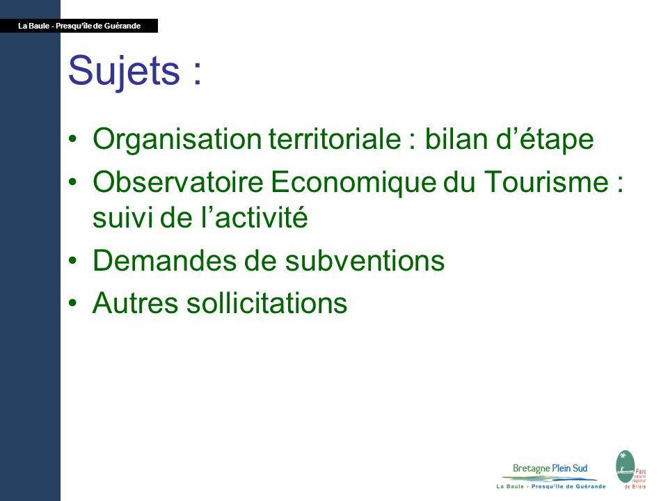 La Baule - Presquîle de Guérande Sujets : Organisation territoriale : bilan détape Observatoire Economique du Tourisme : suivi de lactivité Demandes d
