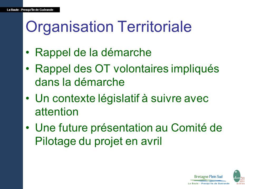 La Baule - Presquîle de Guérande Organisation Territoriale Rappel de la démarche Rappel des OT volontaires impliqués dans la démarche Un contexte légi