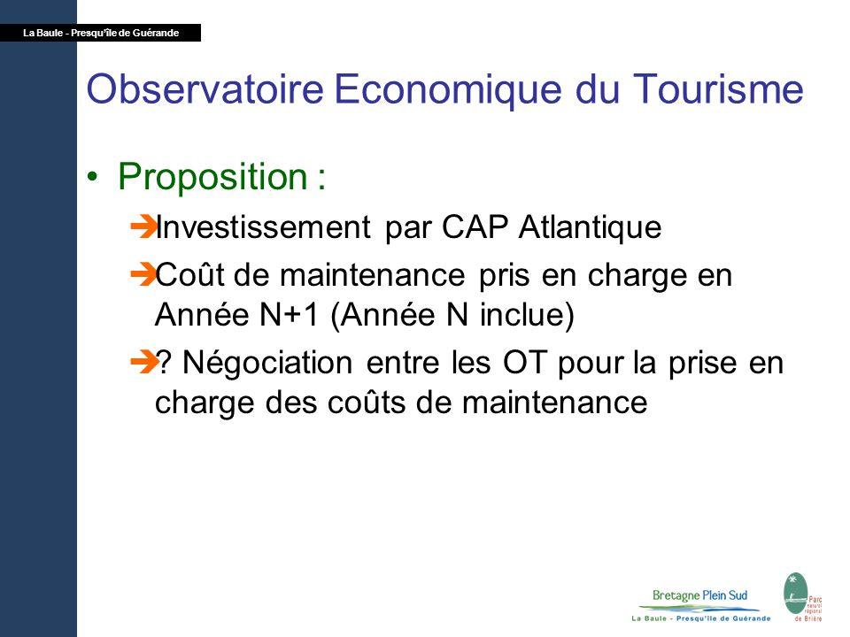 La Baule - Presquîle de Guérande Observatoire Economique du Tourisme Proposition : Investissement par CAP Atlantique Coût de maintenance pris en charg
