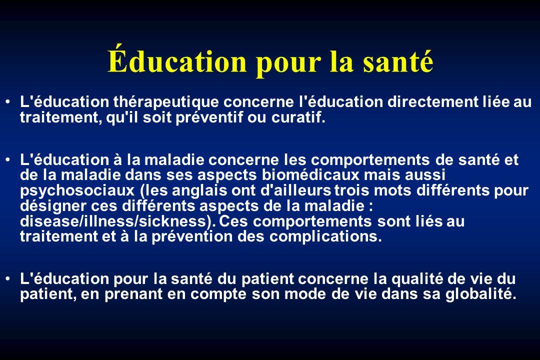Éducation pour la santé L éducation thérapeutique concerne l éducation directement liée au traitement, qu il soit préventif ou curatif.