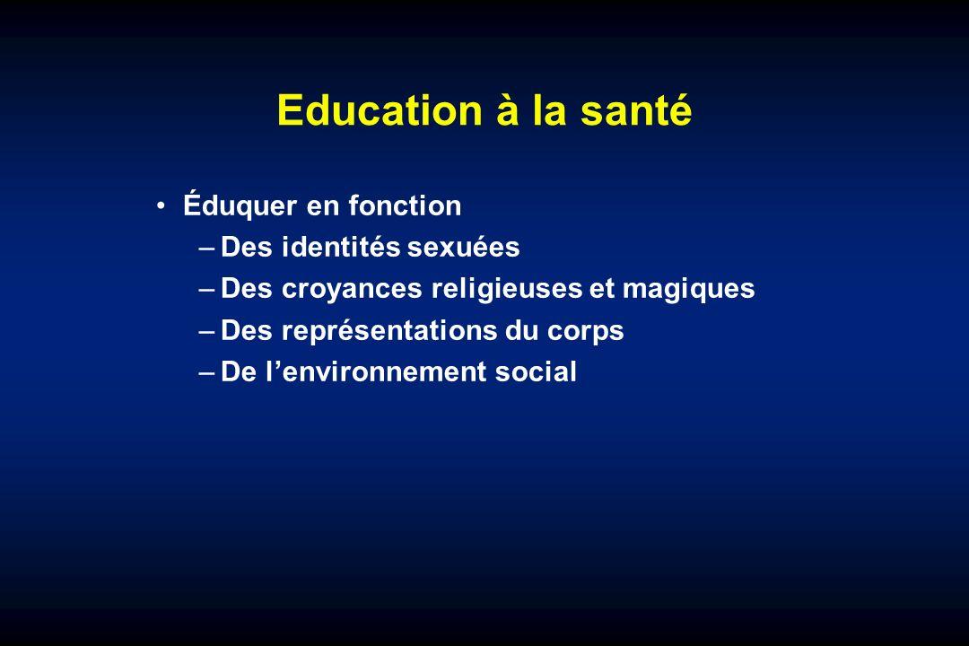 Education à la santé Éduquer en fonction –Des identités sexuées –Des croyances religieuses et magiques –Des représentations du corps –De lenvironnement social
