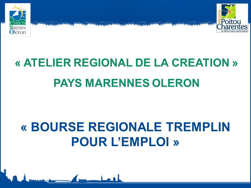 « ATELIER REGIONAL DE LA CREATION » PAYS MARENNES OLERON « BOURSE REGIONALE TREMPLIN POUR LEMPLOI »