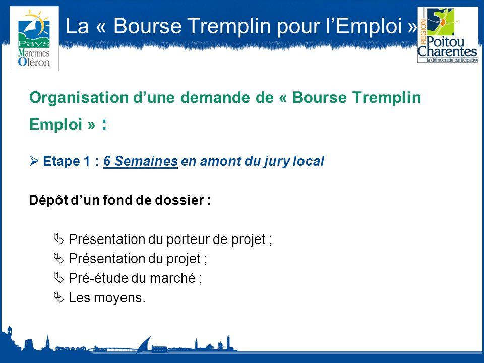 La « Bourse Tremplin pour lEmploi » Organisation dune demande de « Bourse Tremplin Emploi » : Etape 1 : 6 Semaines en amont du jury local Dépôt dun fond de dossier : Présentation du porteur de projet ; Présentation du projet ; Pré-étude du marché ; Les moyens.