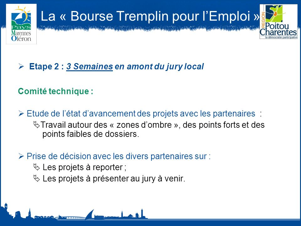 La « Bourse Tremplin pour lEmploi » Etape 2 : 3 Semaines en amont du jury local Comité technique : Etude de létat davancement des projets avec les partenaires : Travail autour des « zones dombre », des points forts et des points faibles de dossiers.