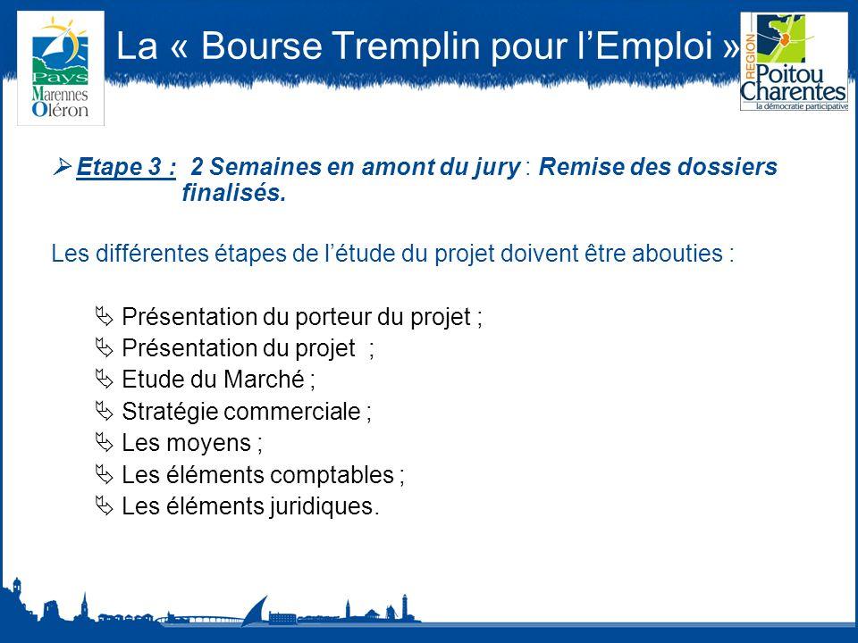 La « Bourse Tremplin pour lEmploi » Etape 3 : 2 Semaines en amont du jury : Remise des dossiers finalisés.