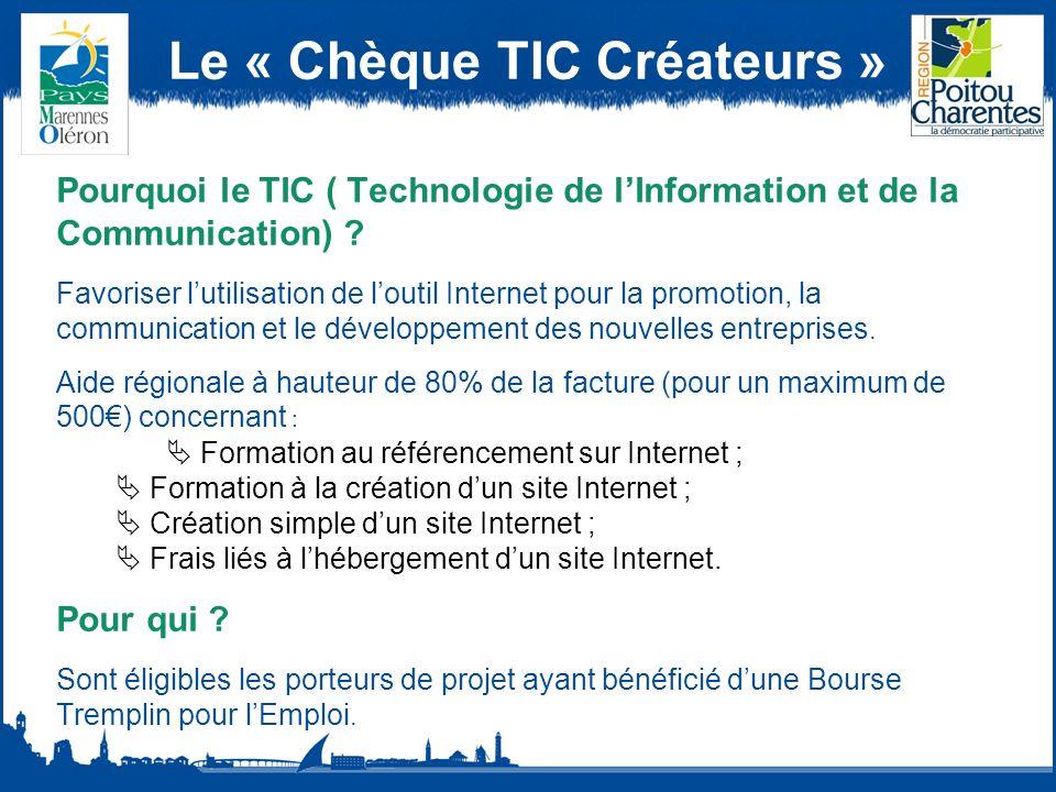 Le « Chèque TIC Créateurs » Pourquoi le TIC ( Technologie de lInformation et de la Communication) .