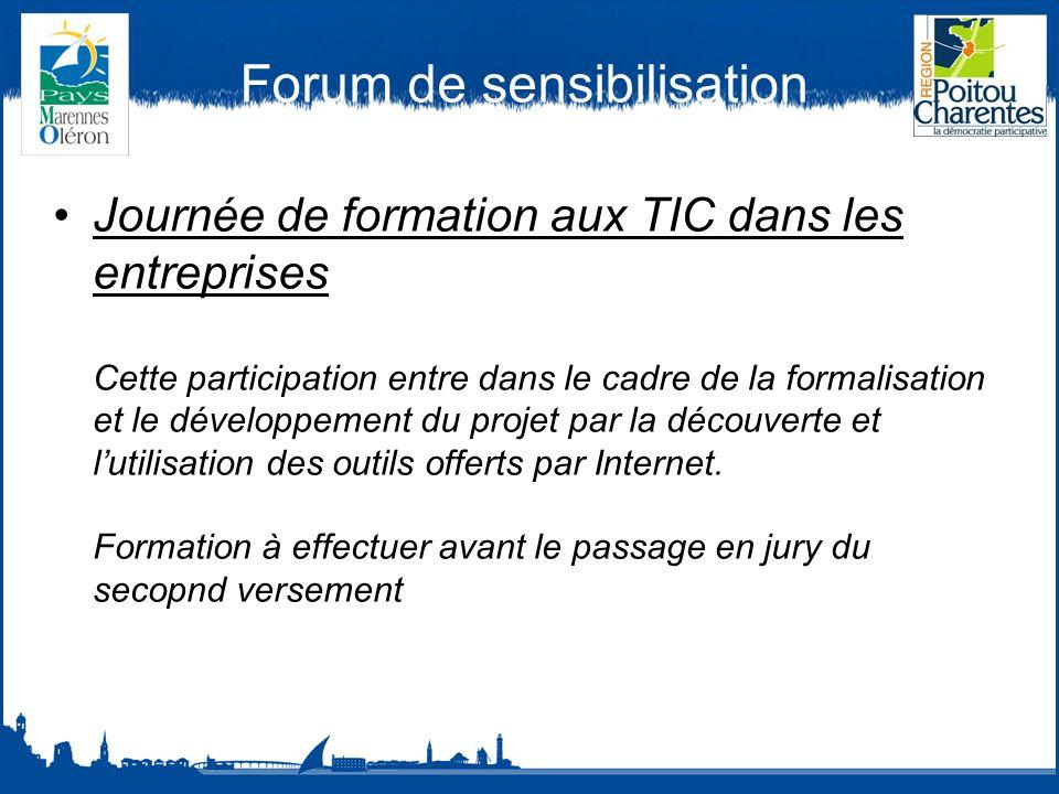 Forum de sensibilisation Journée de formation aux TIC dans les entreprises Cette participation entre dans le cadre de la formalisation et le développement du projet par la découverte et lutilisation des outils offerts par Internet.