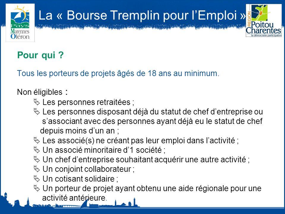 La « Bourse Tremplin pour lEmploi » Pour qui .