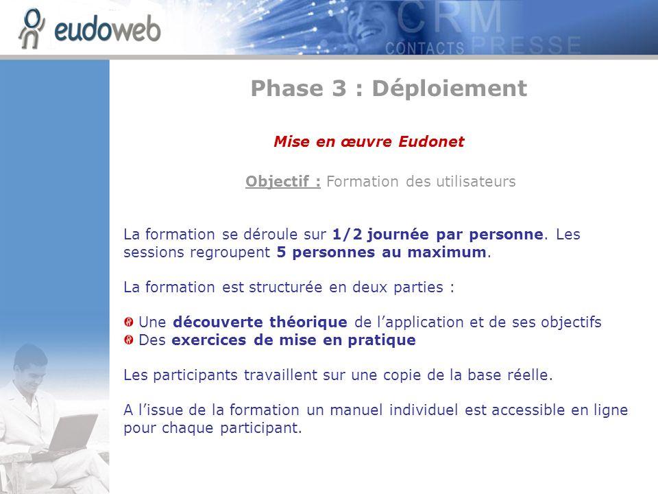 Objectif : Formation des utilisateurs La formation se déroule sur 1/2 journée par personne. Les sessions regroupent 5 personnes au maximum. La formati
