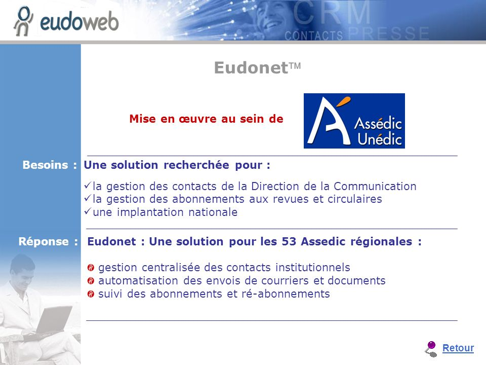 Eudonet : Une solution pour les 53 Assedic régionales : gestion centralisée des contacts institutionnels automatisation des envois de courriers et doc