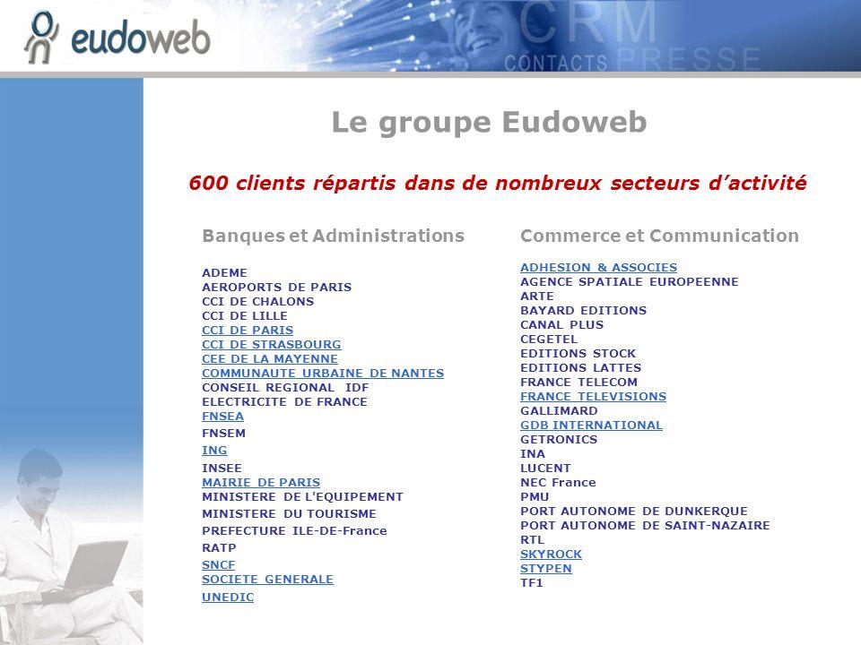 Energie et Chimie 3M FRANCE ANDRA AREVA CIMENTS FRANCAIS CFM ELF ATOCHEM FUJI FILM GROUPE LAFARGE LABORATOIRES BIOMERIEUX LABORATOIRES BMS LABORATOIRES IPSEN LABORATOIRES GSK LABORATOIRES LILLY LABORATOIRE NATIONAL D ESSAIS LABORATOIRES UPJOHN LEVER NERSA NOVARTIS TOTALFINAELF … + de 50 % des entreprises du CAC 40 utilisent des solutions Eudonet 600 clients répartis dans de nombreux secteurs dactivité Luxe et Beauté BIOTHERM CALVIN KLEIN CARITA CELINE CHAMPAGNE BILLECART CHAUMET HELENA RUBINSTEIN INSTITUT DE LA MODE LACOSTE LACOSTE LANCOME LASCAD LOREAL PARIS MOET ET CHANDON PACO RABANNE PRESTIGE ET COLLECTION SHISEIDO YVES ROCHER Le groupe Eudoweb