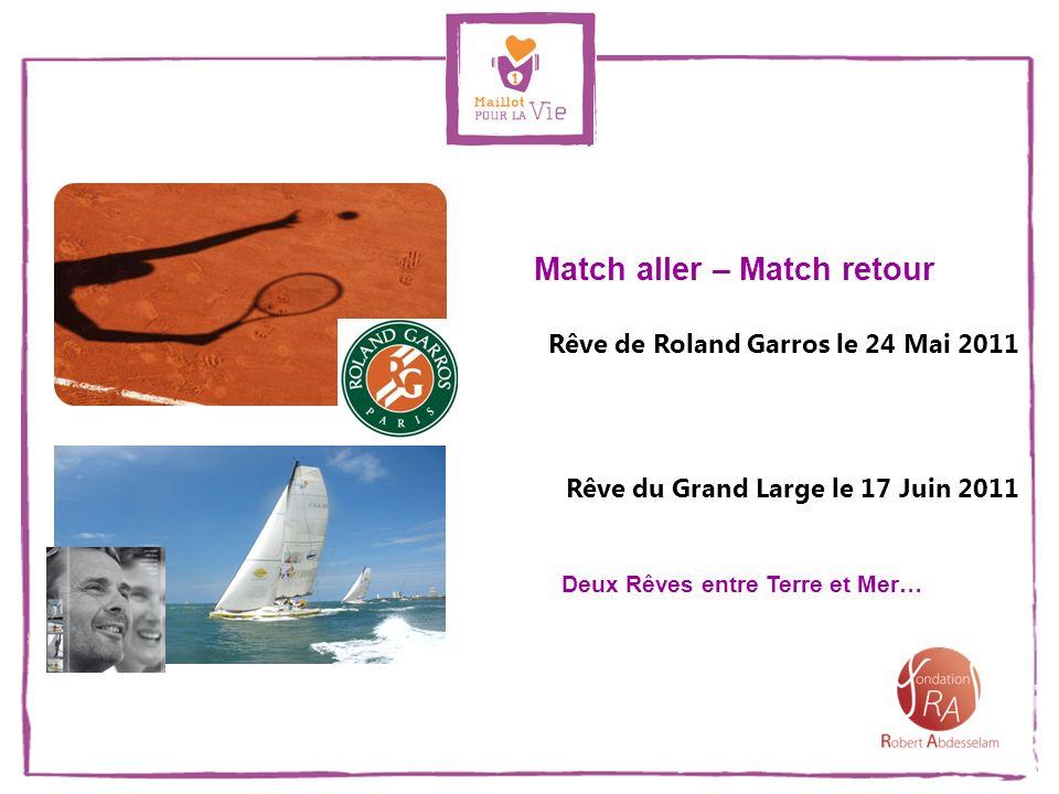 Match aller – Match retour Deux Rêves entre Terre et Mer… Rêve de Roland Garros le 24 Mai 2011 Rêve du Grand Large le 17 Juin 2011