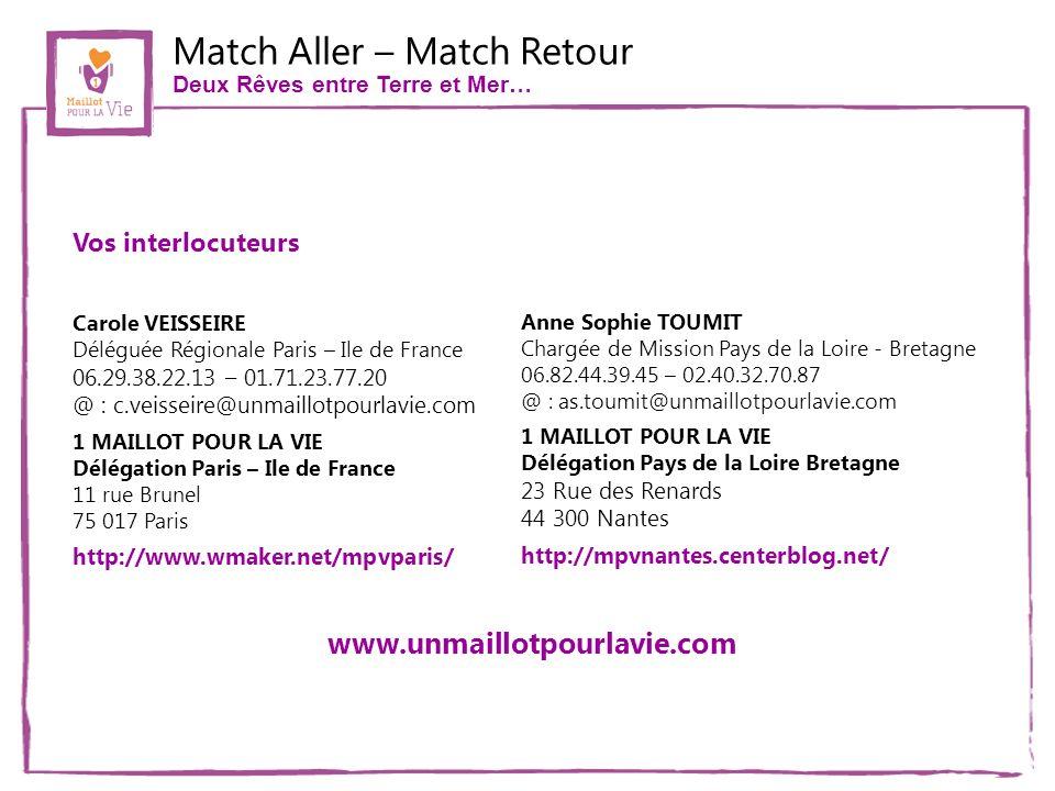Match Aller – Match Retour Deux Rêves entre Terre et Mer… Carole VEISSEIRE Déléguée Régionale Paris – Ile de France 06.29.38.22.13 – 01.71.23.77.20 @ : c.veisseire@unmaillotpourlavie.com 1 MAILLOT POUR LA VIE Délégation Paris – Ile de France 11 rue Brunel 75 017 Paris http://www.wmaker.net/mpvparis/ Anne Sophie TOUMIT Chargée de Mission Pays de la Loire - Bretagne 06.82.44.39.45 – 02.40.32.70.87 @ : as.toumit@unmaillotpourlavie.com 1 MAILLOT POUR LA VIE Délégation Pays de la Loire Bretagne 23 Rue des Renards 44 300 Nantes http://mpvnantes.centerblog.net/ Vos interlocuteurs www.unmaillotpourlavie.com