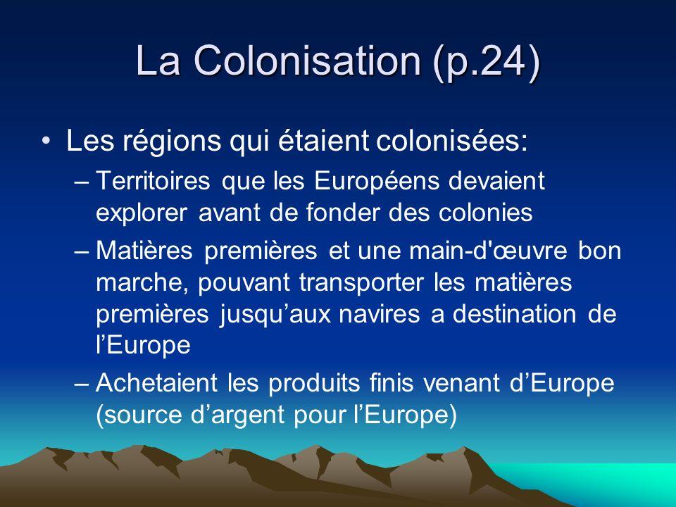 La Colonisation (p.24) Les pays européens: –Ont pris possession de territoires étrangers en Amérique du Nord, en Afrique, en Asie et en Australie Pour les coloniser et les contrôler.
