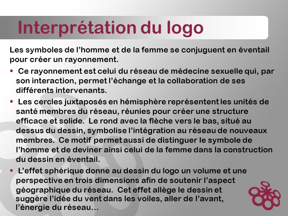 Interprétation du logo Les symboles de lhomme et de la femme se conjuguent en éventail pour créer un rayonnement.