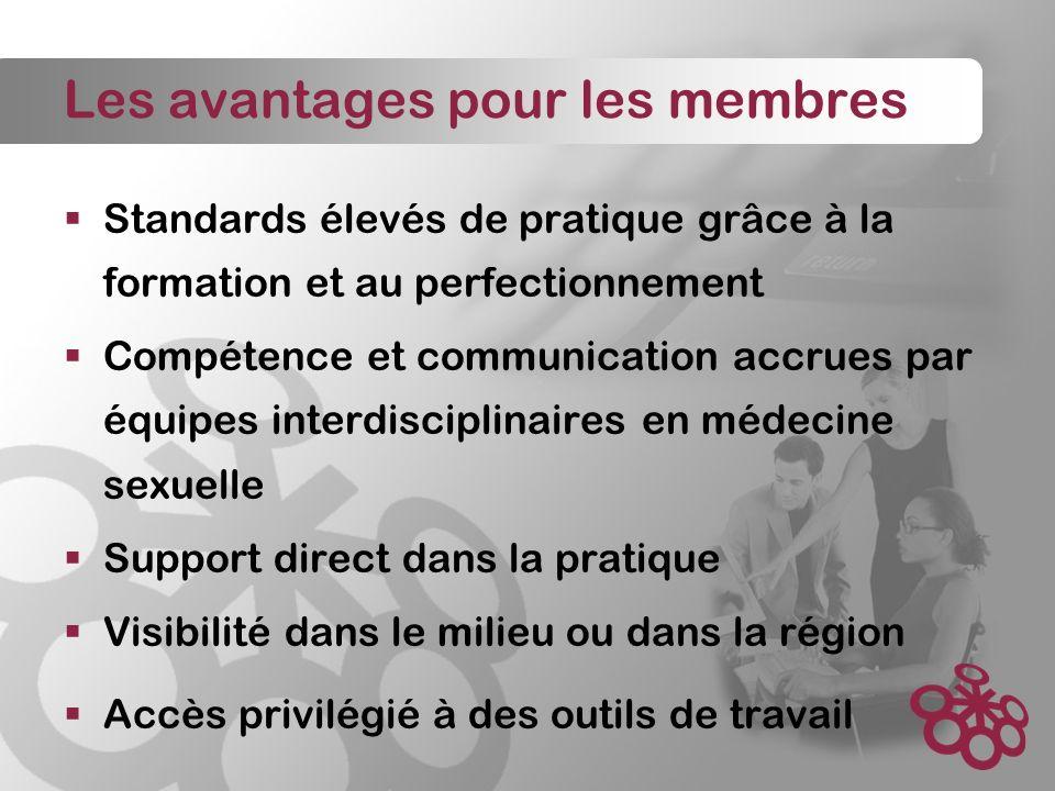 Les avantages pour les membres Standards élevés de pratique grâce à la formation et au perfectionnement Compétence et communication accrues par équipes interdisciplinaires en médecine sexuelle Support direct dans la pratique Visibilité dans le milieu ou dans la région Accès privilégié à des outils de travail